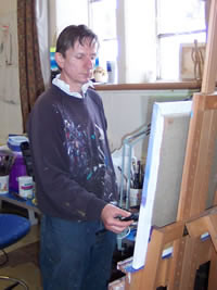 Islay artist Jim Lutomski at work in his studio.