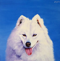Oil portrait of a very fluffy dog!